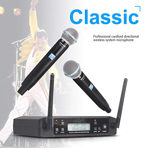 JSX Professionele draagbare microfoon UHF Dual-draadloos microfoonsysteem SM58 Hand Mic 2 kanalen podium karaoke
