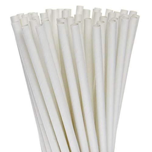 250 cannucce di carta bianche, 6 x 200 mm, biodegradabili, compostabili, ecologiche