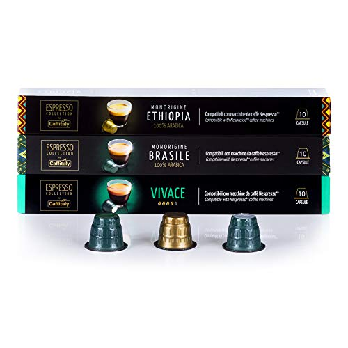 Caffitaly Nespresso Compatible Coffee Capsules Variety Pack Vivace - Ethiopia - Brasile (30 Pods)