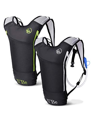 2Pack Hydration Water Backpack - Running Hiking Cycling Mountain Biking Camelback for Kids Women and Men with Insulated Bottle Pocket and 2l Water Bladder