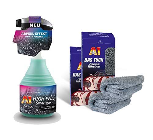 ILODA Set: 1x 500ml Dr. Wack A1 HIGH END Spray Wax + 2X A1 DAS Tuch Premium Mikrofaser, Lack-Versiegelung, Lackschutz, Auto-Wachs, Wachsversiegelung für alle Autolacke mit Wasser-Abperl-Effekt