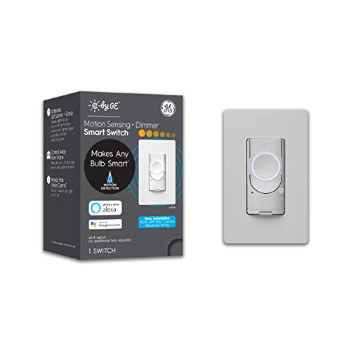 C by GE 3-Wire Smart Motion Sensor Light Switch, Smart Dimmer Switch Compatible with Google Home + Alexa, Dimmer Smart Switch, Single-Pole/3-Way, White, 1-Pack (Packaging May Vary)