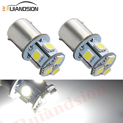Ruiandsion 2pcs 1156 7506 BA15S 6V Super Bright 5050 8SMD Chipset LED Replacement Bulb for Reverse light Turn signal light Tail light,Non-polarity(White)