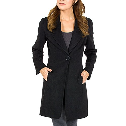 Alpine Swiss Stella Womens Black Wool Single Button 7/8 Length Overcoat 2XL