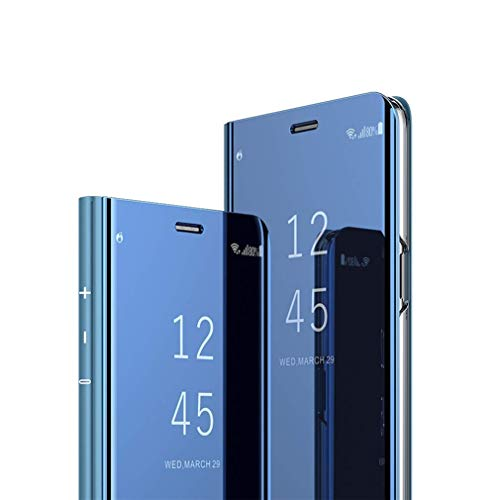 LEECOCO Case for LG V30 Slim Luxury Clear View Electroplate Plating Mirror Makeup [Kickstand] Full Body Protective Cover Flip Shockproof Case Cover for LG V30 Mirror PU Blue