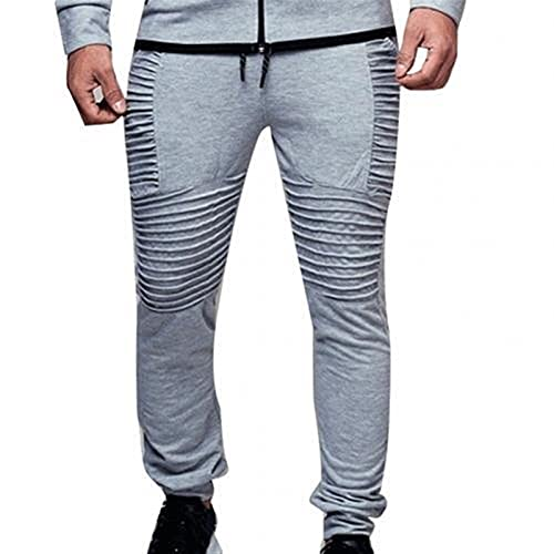 YZRDY Men Drawstring Elastic Waist Sport Pleated Pants Trousers Elastic Waist Sport Pleated Pants (Color : Light Gray, Size : L.)