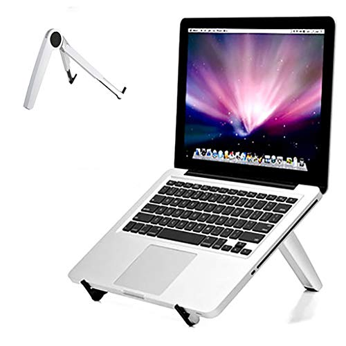 ZTSS Laptop Stand, Tripod Portable Aluminum Laptop Riser Laptop Holder for Desk, Foldable Ventilated Cooling Notebook Stand for MacBook Pro/Air, HP, More 10-15.6' Laptops, Tablet,White
