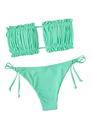 Floerns Women's Tie Back Ruched Bandeau with Cheeky Thong Bikini Bathing Suit A Green M