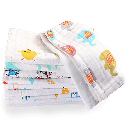 10 Paños de Eructar para Bebés de 10 x 20 Pulgadas de 6 Capas Toalla para Recién Nacido de Muselina Absorbente Suave para Baby Shower Lavable a Máquina, para Pieles Sensibles