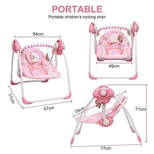 Soothing Portable Swing,Comfort Electric Baby Rocking Chair with Intelligent Music Vibration Box That Can Be Used from The Beginning of The Newborn (Pink)