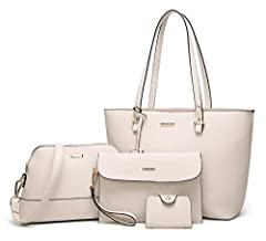 Top zipper closure. Durable and smooth. Well made: Made of good quality synthetic leather fabric and polyester lining with durable gold hardware. Dimension Handbag:12.6x10.64x5inch(W*H*D), Handle height:10.24inch. Messenger bag:10.24x7.29x3.74inch(W*...