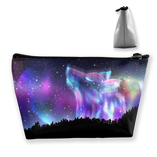 Women Cosmetic bag, Portable Hand-held Travel Makeup Toiletry Pouch Multifunction Organizer Storage Case with Galaxy Forest Wolf Patterns