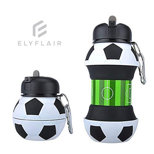ELYFLAIR Trinkflasche - Innovative Wasserflasche für Kinder & Erwachsene - Water Boottle geeignet für Sport/Schule - spülmaschinengeeignete Sportflasche inkl. Karabinerhaken - BPA frei (Fußball, 18)
