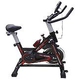 KINGSMAN, Bicicleta Spinning Fitness Estática, Aparato para Cardio, Entrenamiento de Ciclismo, Hogar Gym, Color Negra con Rojo