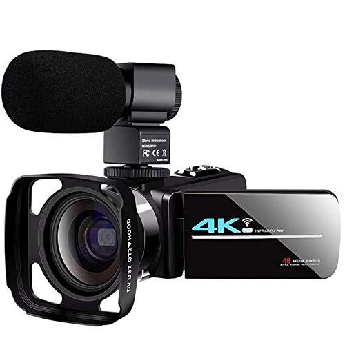 ZCFXGHH 4K-Camcorder-Videokamera mit Mikrofon Wiederaufladbare 2.4G Fernbedienung Vlogging Kamera 60FPS 48MP IR-Nachtsicht mit Weitwinkel-Objektiv, Gegenlichtblende, Batterien