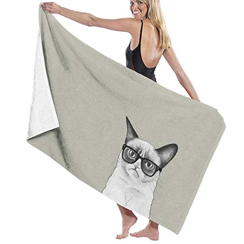 Pureny Angry Cat Cat Sauce Tartar Tardar Sauce Cat Bath Towels Beach Towel Bath Towel Antibacterial Absorbent Soft 130 x 80 cm