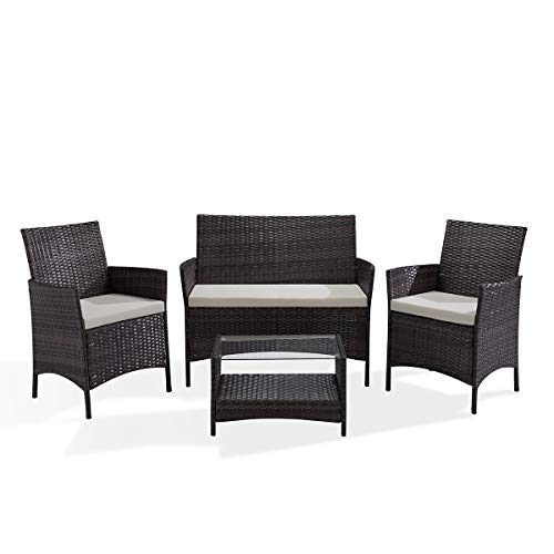SVITA Brooklyn Gartenmöbel Poly Rattan Sitzgruppe Essgruppe Set Sofa-Garnitur Lounge Braun, Grau...