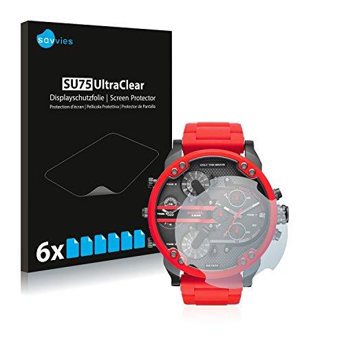 Savvies 6X Schutzfolie kompatibel mit Diesel DZ7370 Displayschutz-Folie Ultra-transparent