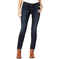 FIT: Low-rise, curvy fit with a skinny leg Classic 5-pocket styling Zip fly with button closure Front rise: 8 inches, Leg opening: 10 inches (Size 27)