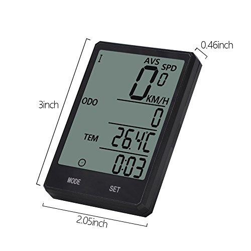 Wireless-Computer-Fahrrad, Fahrrad-Tachometer, Radfahren Kilometerzähler, Multifunktion mit extra großen LCD-Hintergrundbeleuchtung Display wasserdicht - 4