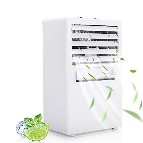 Winload Mini Luftkühler, 3 in 1 Persönliche Mobile Klimagerät, Mini Air Cooler mit Wasserkühlung, Luftbefeuchter, Luftreiniger, 3 Kühlstufen, Tragbare Klimaanlage für Büro, Wohnheim und Hause