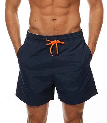 Costume da Bagno Uomo Pantaloncini Uomo Asciugatura Rapida Ragazzo Calzoncini da Bagno Mare Sportivi Pantaloni Corti Bermuda Shorts Fodera in Mesh/Tasche (XL, Marina)