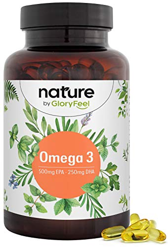 Premium Omega 3 Fischöl Kapseln - 3-fache Stärke: 500mg EPA und 250mg DHA PRO Kapsel - Essentielle Omega-3-Fettsäueren aus nachhaltigem Fischfang - Laborgeprüft hergestellt in Deutschland