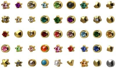 Universal 24K Plated Surgical Steel 3mm Regular Size Prong Style Setting, 12 Pair Mixed Colors Yellow Metal Ear Piercing Earrings stud hypoallergenic surgical steel baby earrings for women