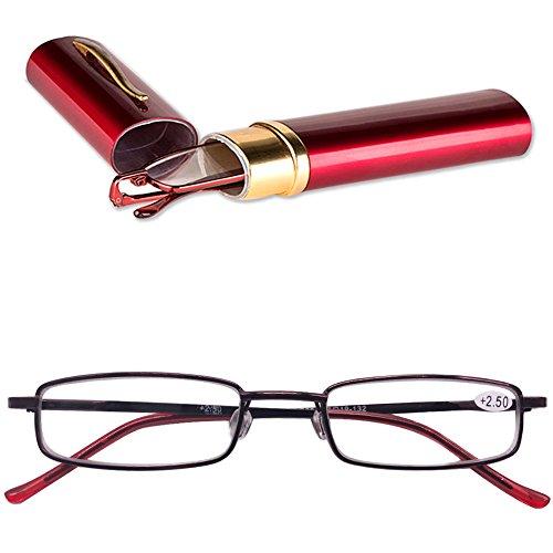 KOOSUFA KOOSUFA Lesebrillen Herren Damen Tragbar Brillenhülle Metall Klassische Scharnier Schmal Leichte Stil Stärken lesebrille mit Etui Taschenclip Brillenetui (Rot, 4.0)