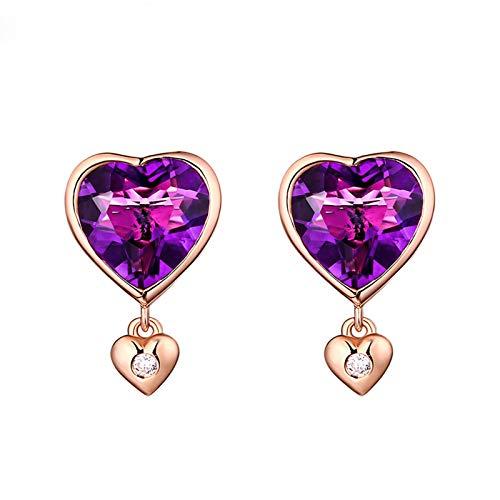 KnSam - Pendientes de oro de 18 quilates para mujer, con forma de corazón doble y amatista con amatista 210, amatista, morado, oro rosa