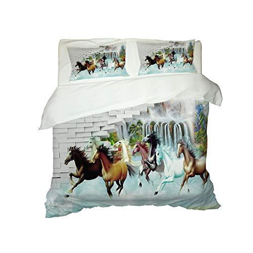 HJKGSX Duvet Cover Set 3D 3D animal horse Bedding Microfibre with Zipper Closure 1x Duvet Cover Adult and child 3 pieces Set78.7 x 78.7 inch - Double