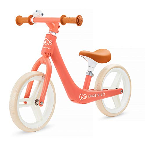 kk KinderKraft Bicicleta Sin Pedales Fly Plus, Ligera, Asiento Ajustable, Retro, Coral