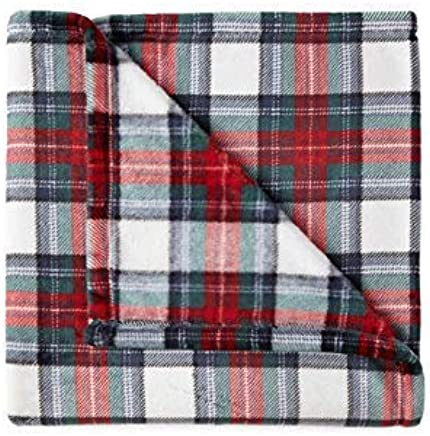 North Pole Trading Super Soft,  Luxurious and Cozy Plush Throw Blanket with Free 6 pc Washcloth Set,  Machine Washable Lightweight, Plush Blanket (50in x 60in) for Bed, Couch or Travel Festive Plaid