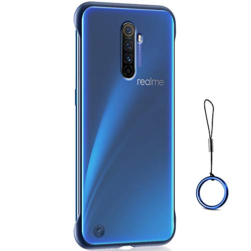 TheGiftKart Shock Proof Ultra Slim Frameless Design Translucent Hybrid Bumper Hard Back Case Cover with Metal Ring for Realme X2 Pro (Blue Border) [ Launch Offer ]