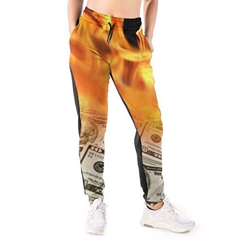 Damen-Jogginghose mit Feuer brennendem Dollargeld, Freizeithose Gr. XL, Schwarz