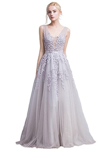 Babyonlinedress Women's Double V-Neck Tulle Appliques Long Evening Cocktail Gowns (Silver,4)