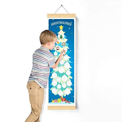 Adventskalender-Baum Deko, Bastel-Weihnachtskalender, 24 Weihnachten Muster Malen für die ganze Familie, Kinder Jungen Mädchen kreativen Weihnachts DIY Geschenke und Aufhängen Weihnachtsbaum Wanddeko