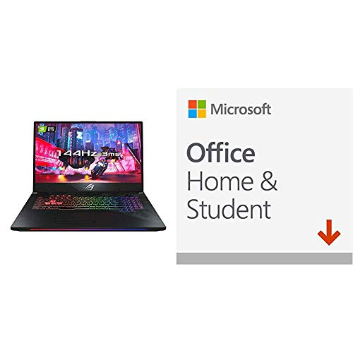 ASUS ROG Strix SCAR GL704GW 17.3 Inch Full HD 144 Hz 3 ms Display Gaming Laptop, Black + Microsoft Office Home and Student 2019