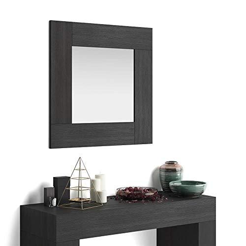 Mobili Fiver, Espejo de Pared Cuadrado, Modelo Evolution, Color Madera Negra, Aglomerado y Melamina/Vidrio, Made in Italy