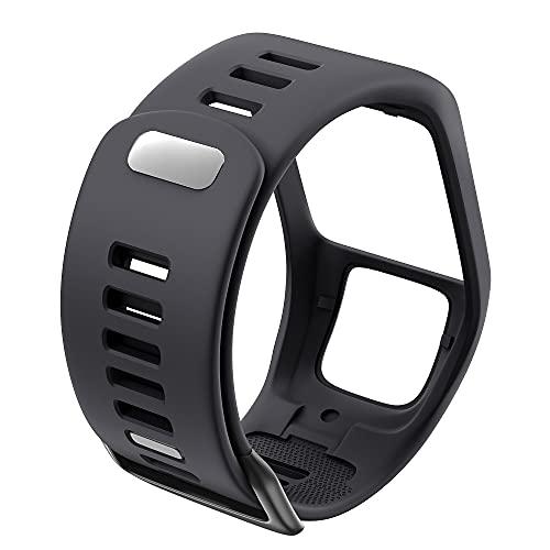 PAZHOU Silicona Reemplazo de Pulsera Reloj Correa para Tomtom Runner 2 3 Spark 3 GPS Reloj Deportivo para Tomtom 2 3 Series Soft Smart Band (Band Color : Dark Grey)