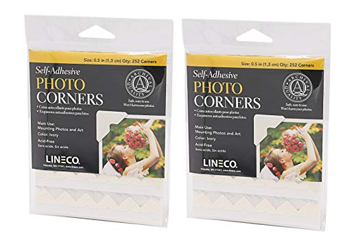 Lineco Self-Adhesive Photo Corners, Archival Quality Acid-Free Pressure Sensitive, 1/2 Inch, Useful for Scrapbooking Mounting on Matboards DIY (Pack of 252) Ivory