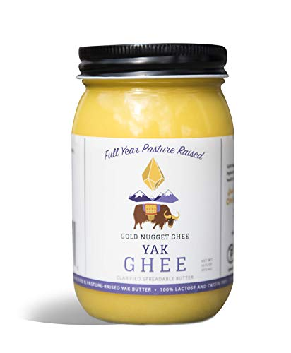 YAK GHEE A2/A2 BY GOLD NUGGET GHEE, FULL-YEAR/PASTURE-RAISED, GRASS-FED BUTTER, KETO & PALEO 16oz