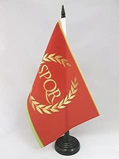 AZ FLAG Roman Empire Table Flag 5'' x 8'' - Roman Empire Desk Flag 21 x 14 cm - Black Plastic Stick and Base