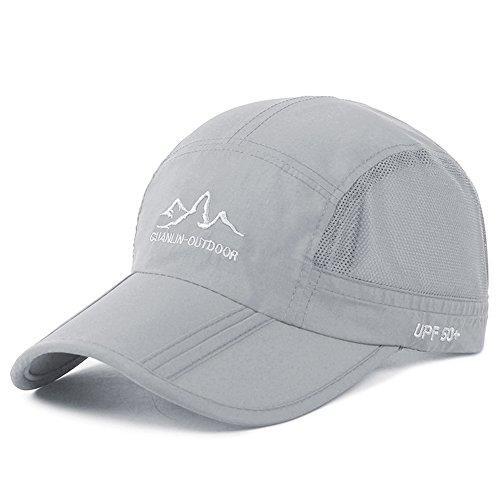 Estwell Sport Trucker Cap Baseballmütze Hut Faltbarer Verstellbar UV Schutz Basecap Baseball Kappe für Damen und Herren (A-hell grau)