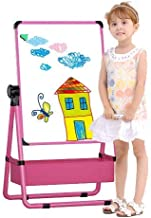 Kids Easel Board , Double-Sided Height Adjustable & 360°Rotating Stand Art Easel for Kids, Big Size Educational Drawing Black and White Board Gift for Kids with 100 Pcs Deluxe Magnetic Drawing Board (Pink)