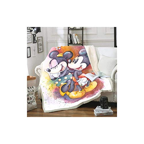 DOUBLE Disney Mickey and Minnie Mouse Bedspread Made of Soft Fleece, 3D digital Printing, for Adults and Children, for Sofa, Sofa Bed, Living Room (A16, 100 x 140 cm)