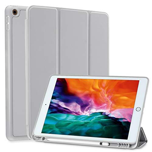SIWENGDE Hülle für iPad 10.2 Zoll 2020/2019, schlanke leichte Schutzhülle für iPad 8 Generation/iPad 7 Generation, TPU Soft Smart Cover mit Stifthalter, Auto Wake/Sleep (Rauch Grau)