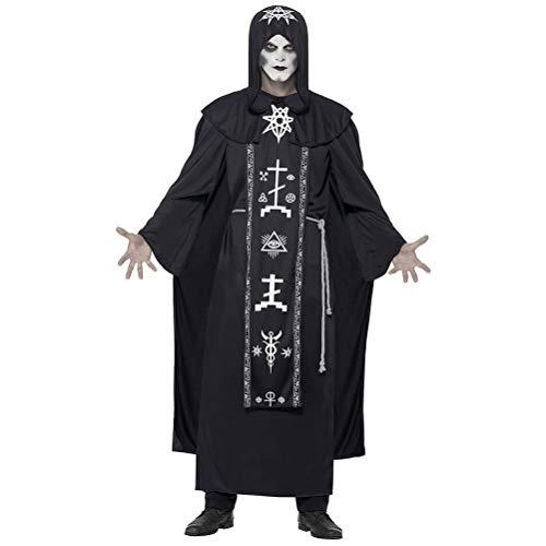 KUTO Disfraz de Halloween, Mago Mago Vampiro Muerte Horror Túnica Capa Cosplay Juego de Rol Disfraz, Disfraz Fiesta Traje Carnaval Halloween Adulto Mago Disfraz para Pareja, Hombre, Xl