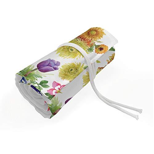 ABAKUHAUS Blumen Mäppchen Rollenhalter, Aquarell Romantische Kunst, langlebig und tragbar Segeltuch Stiftablage Organizer, 72 Schlaufen, Mehrfarbig