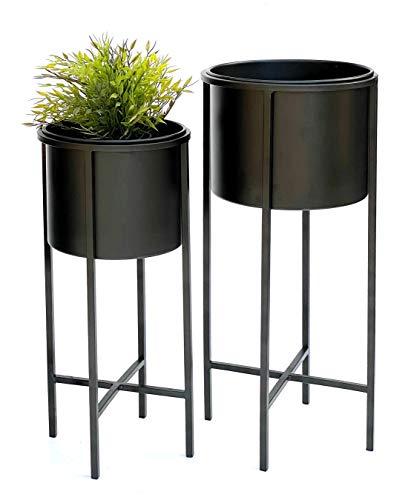Blumenhocker Metall Schwarz Rund 2er Set Blumenständer mit Topf 24721 Blumensäule Modern Pflanzenständer Pflanzenhocker Vintage